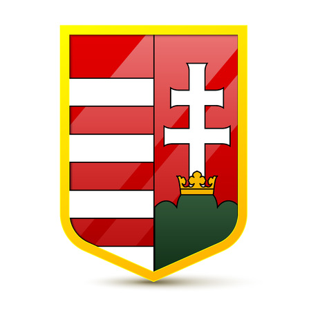magyar: Coat of arms of Hungary on a white background, excellent vector illustration. Illustration