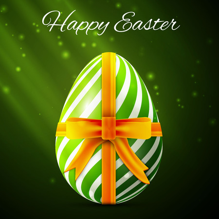 Happy Easter card with colorful decorated egg, vector design. Vector