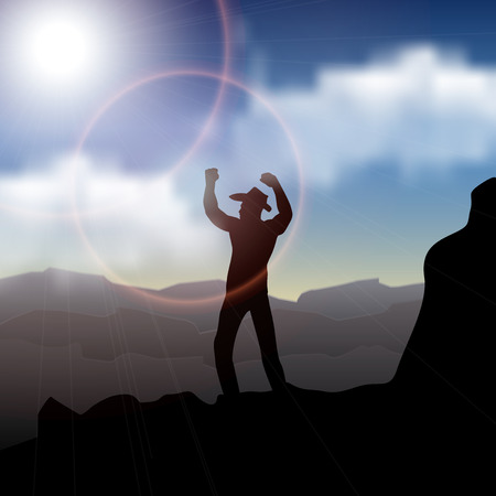 sunrise mountain: Hiker with backpack standing on top of a mountain with raised hands and enjoying sunrise Illustration