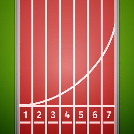 Línea de meta en la pista de atletismo. Vector, excelente ilustración vectorial