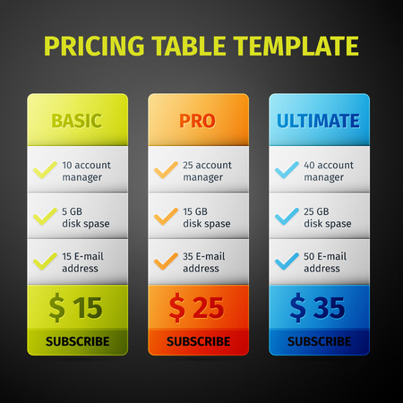 Subscription pricing plan template. Vector Illustration Vector