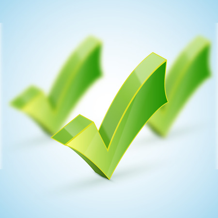 green check mark: Green check mark set and icon for approved design concept and web graphic on white background.