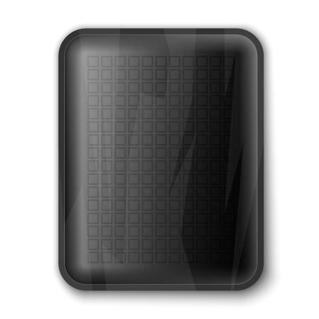 kitchen studio: Empty black food tray isolated on white, excellent vector illustration, EPS 10