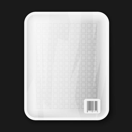 bandeja de comida: Bandeja de comida blanco vac�o aislado en negro, excelente ilustraci�n vectorial
