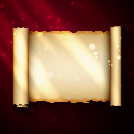 radiance: Magic scroll with bright radiance. Vector illustration