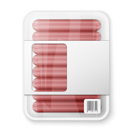 cooled: Pork sausages in a plastic packaging tray Illustration