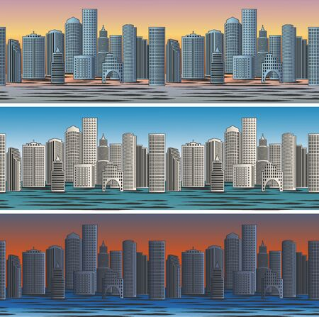 business district: Set of city skylines in morning, afternoon and evening backgrounds seamless. Twilight and business district. Vector illustration