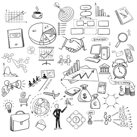 finanse: hand draw doodle web charts business finanse elements on chalk board. Concept - graph, chart, pie, arrows signs