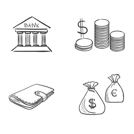 hand tekenen doodle bank munt geld contant geld portemonnee, uitstekende vector illustratie