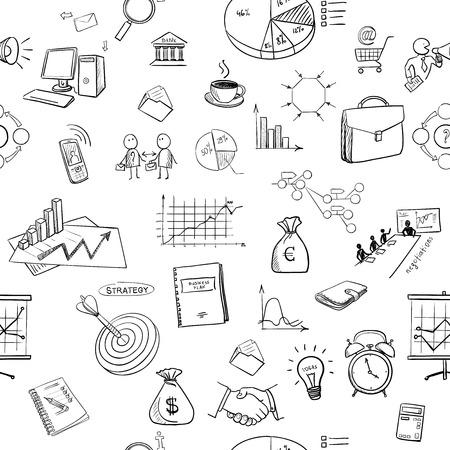 finanse: hand draw doodle business finanse elements pattern. Concept - graph, chart, pie, arrows signs