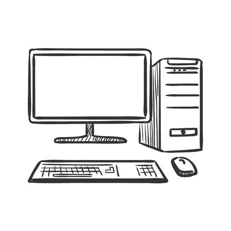 hand draw doodle computer, excellent vector illustration    イラスト・ベクター素材