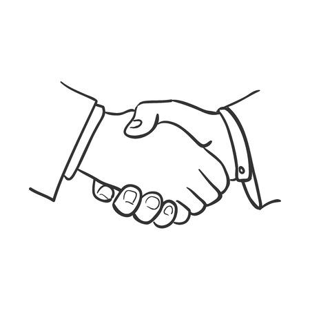 stretta mano: stretta di mano di doodle schizzo illustrazione, eccellente illustrazione vettoriale Vettoriali