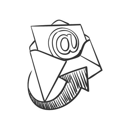 hand tekenen doodle mail, uitstekende vector illustratie