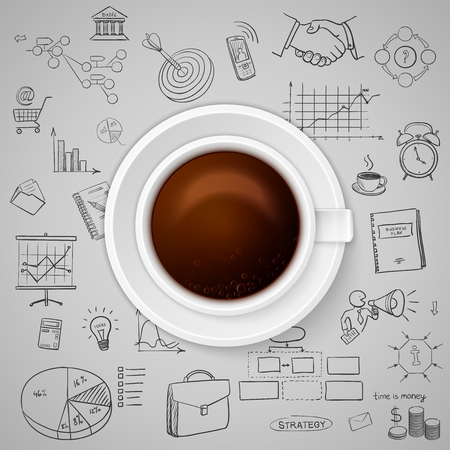idea sketch: Cup of coffee on background of business strategy Idea Sketch