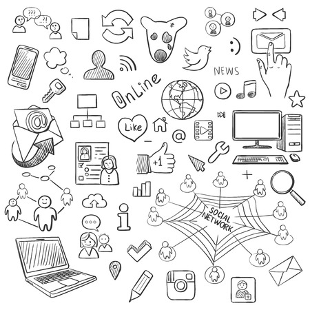 drawing: Hand drawn vector illustration set of social media and symbol doodles elements. Isolated on white background