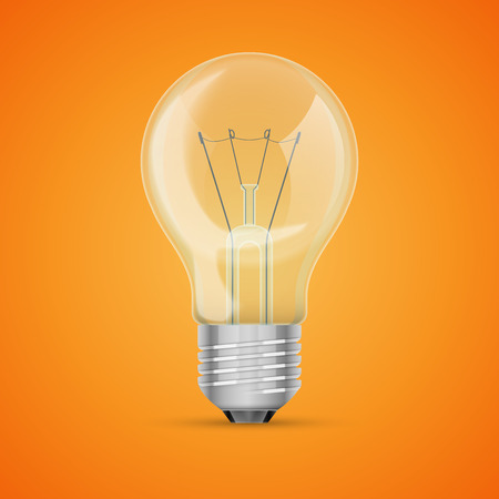 edison: Realistic lit light bulb isolated on orange, excellent vector illustration
