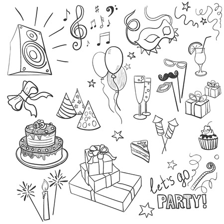 christmas cake: set of sketch party objects hand-drawn, excellent vector illustration