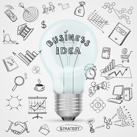 strategy diagram: bulb with drawing business success strategy plan idea, excellent vector illustration Illustration