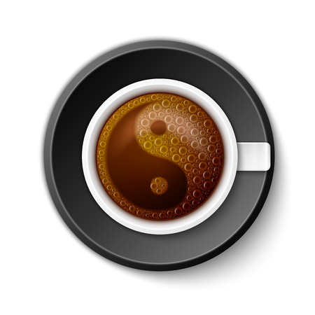Coffee Cup with Yin-Yang Symbol, excellent vector illustration, EPS 10 Illustration