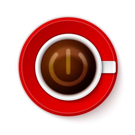vivacity: Coffee cup with froth in from of power-up symbol.