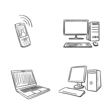 hand draw doodle computer laptop and phone Vector