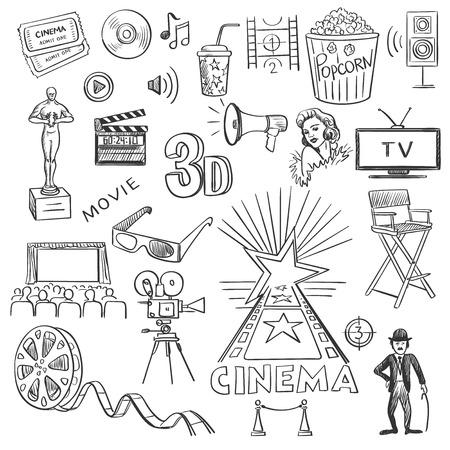 cinema background: Hand drawn cinema Illustration