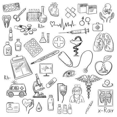 Gezondheidszorg en geneeskunde pictogrammen set met typografie. Stock Illustratie