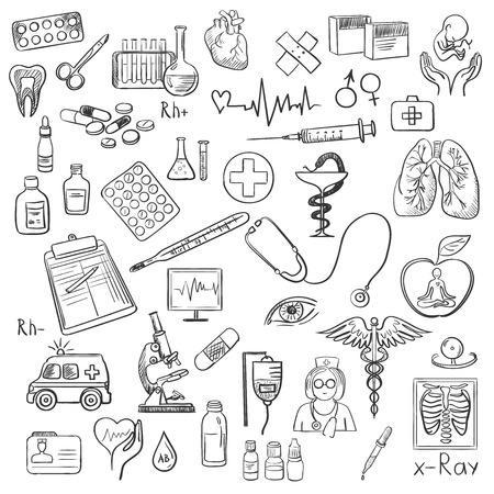 lekarz: Opieka zdrowotna i medycyna zestaw ikon z typografią.