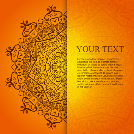 Mooie oranje vintage cirkelvormig patroon van de Indiase