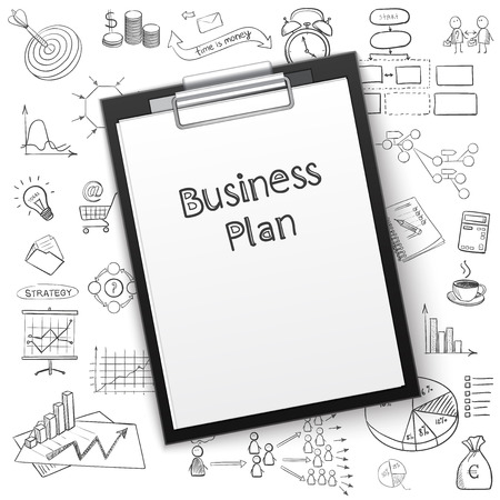 business plan on tablet with paper and hand draw icon, excellent vector illustration