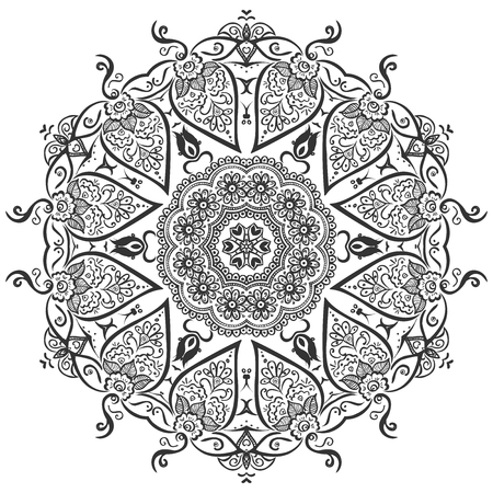 fine detail: Beautiful indian circular pattern with fine detail, leaves and berries in black and white.