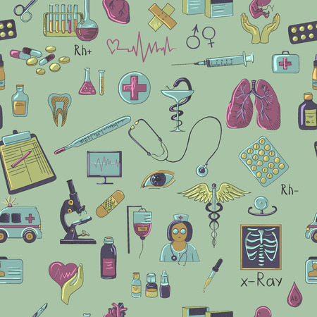 Colored hand draw medicine pattern, excellent vector illustration Vector