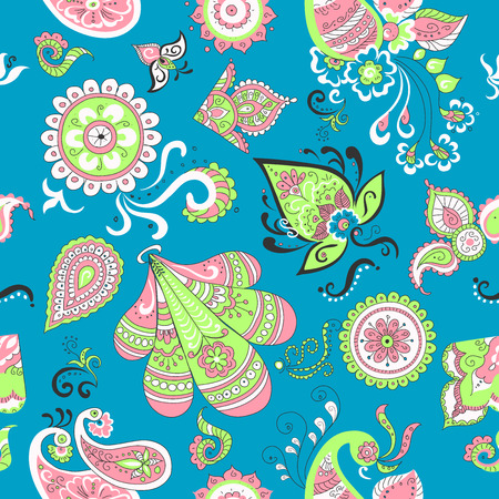 swill: Colored Indian vintage floral seamless, excellent vector illustration