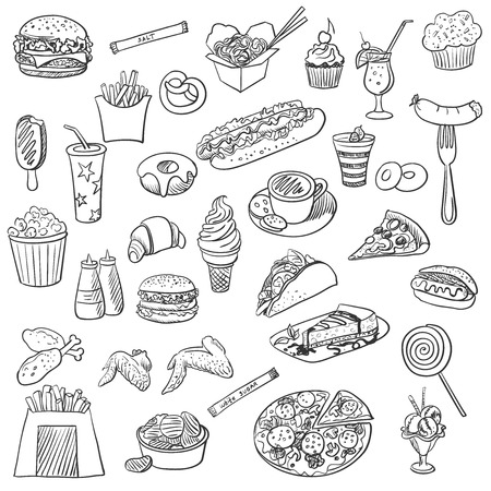 eps vector icon: doodle icon fast food, excellent vector illustration, EPS 10