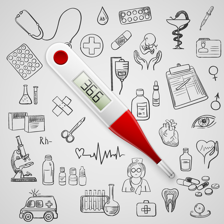 electronic thermometer and hand draw medicine icon, excellent vector illustration Vector