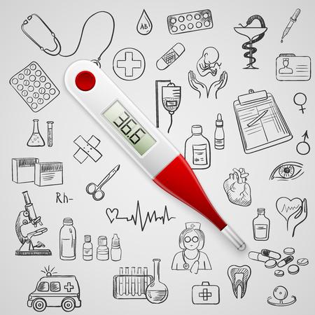 thermometer: termómetro electrónico y el icono de la medicina dibujar a mano, excelente ilustración vectorial Vectores