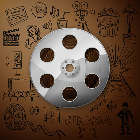 Film Reel and hand draw cinema icon, excellent vector illustration