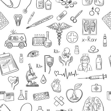 hand tekenen geneeskunde patroon, uitstekende vector illustratie, EPS-10 Stock Illustratie