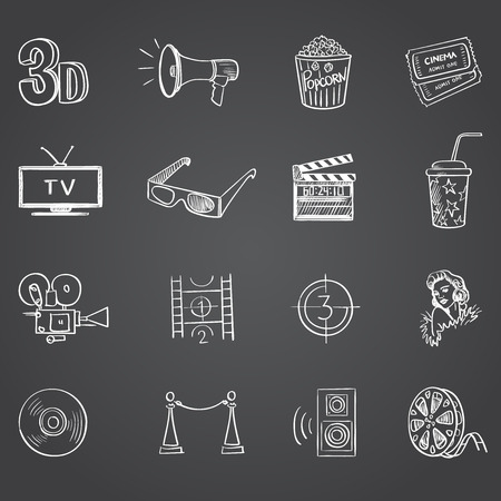 video reel: Hand drawn cinema icon set on dark background