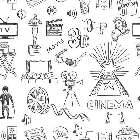 movie and popcorn: Hand drawn cinema pattern, excellent vector illustration, EPS 10 Illustration