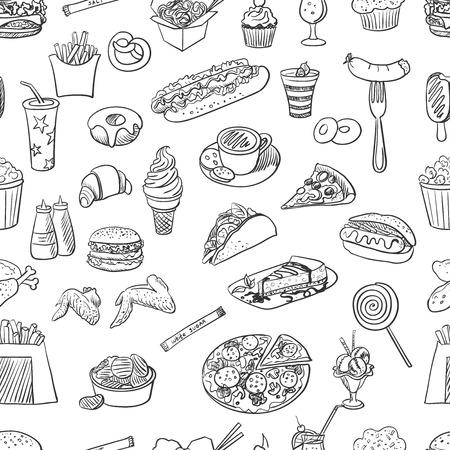 Hand getrokken fast food patroon, uitstekende vector illustratie Stock Illustratie