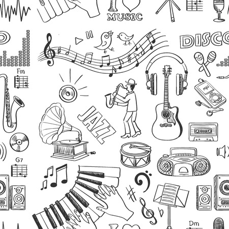 black and white image drawing: Hand drawn music pattern, excellent vector illustration Illustration