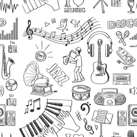dessin noir et blanc: Main motif de la musique tirée, excellente illustration vectorielle