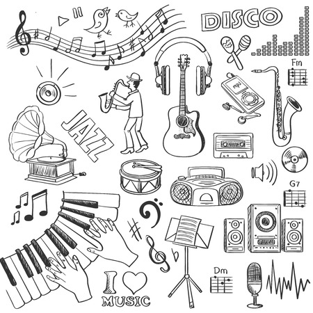 Hand drawn music, excellent vector illustration