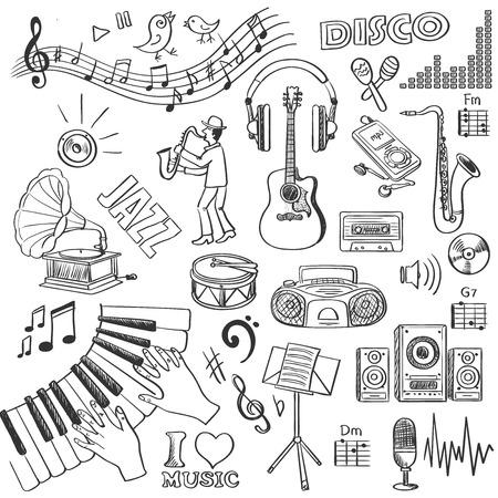 Hand getrokken muziek, uitstekende vector illustratie Stock Illustratie