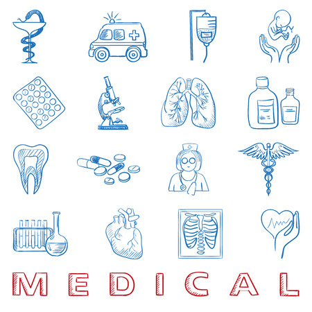 hand draw doodle. Health care and medicine icon set, excellent vector illustration Vector