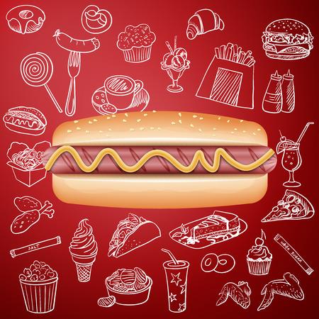 hot dog en hand tekenen fast food pictogram, uitstekende vector illustratie