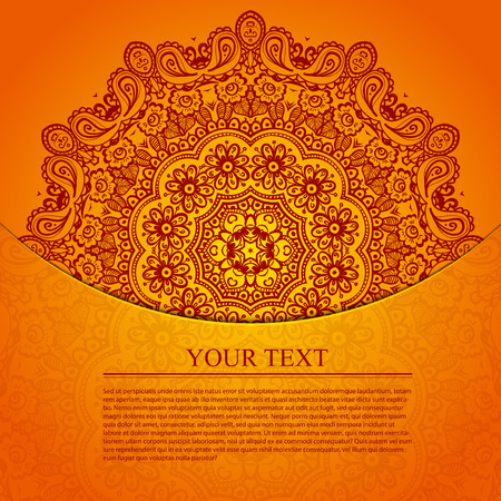 Vintage circular pattern of indian. Elegant invitation with lace round ornament on background with seamless pattern in vintage style. Floral elements, ornate background. Vector illustration. Vector
