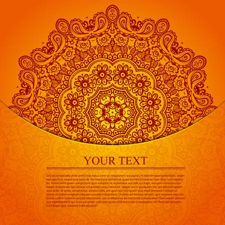 Vintage cirkelvormig patroon van de Indiase. Elegante uitnodiging met kant rond ornament op de achtergrond met naadloze patroon in vintage stijl. Bloemen elementen, overladen achtergrond. Vector illustratie.