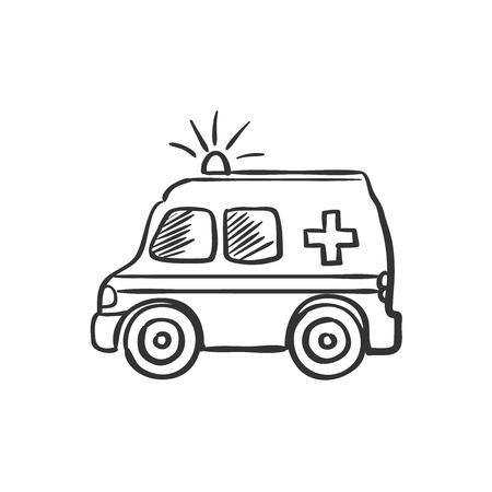 ambulancia: dibujo del doodle de ambulancia, una excelente ilustración vectorial, EPS 10
